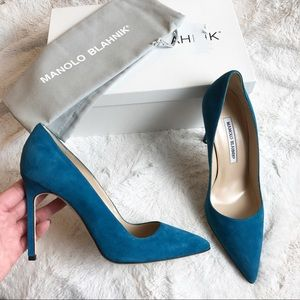 $500 BNIB MANOLO BLAHNIK BB PUMPS TEAL SUEDE 36.5